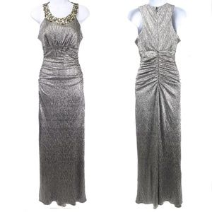 Cachet Silver Ruched Bodice Jeweled Neckline Gown